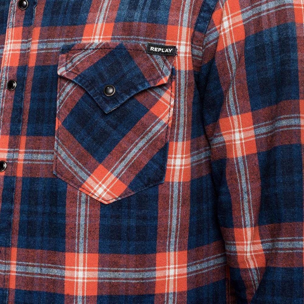 Replay Camisa Cuadros Azul/Roja