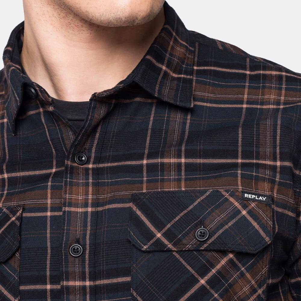 Replay Camisa Cuadros Marrón/Negro
