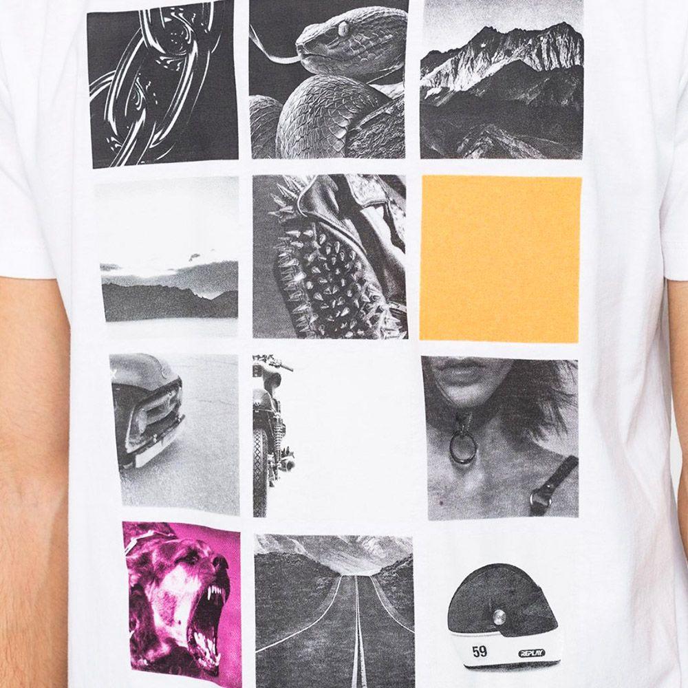 Replay Camiseta Fotos Blanca