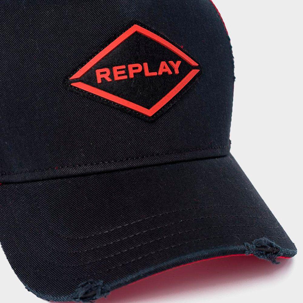 Replay Gorra Trucker Black/Red