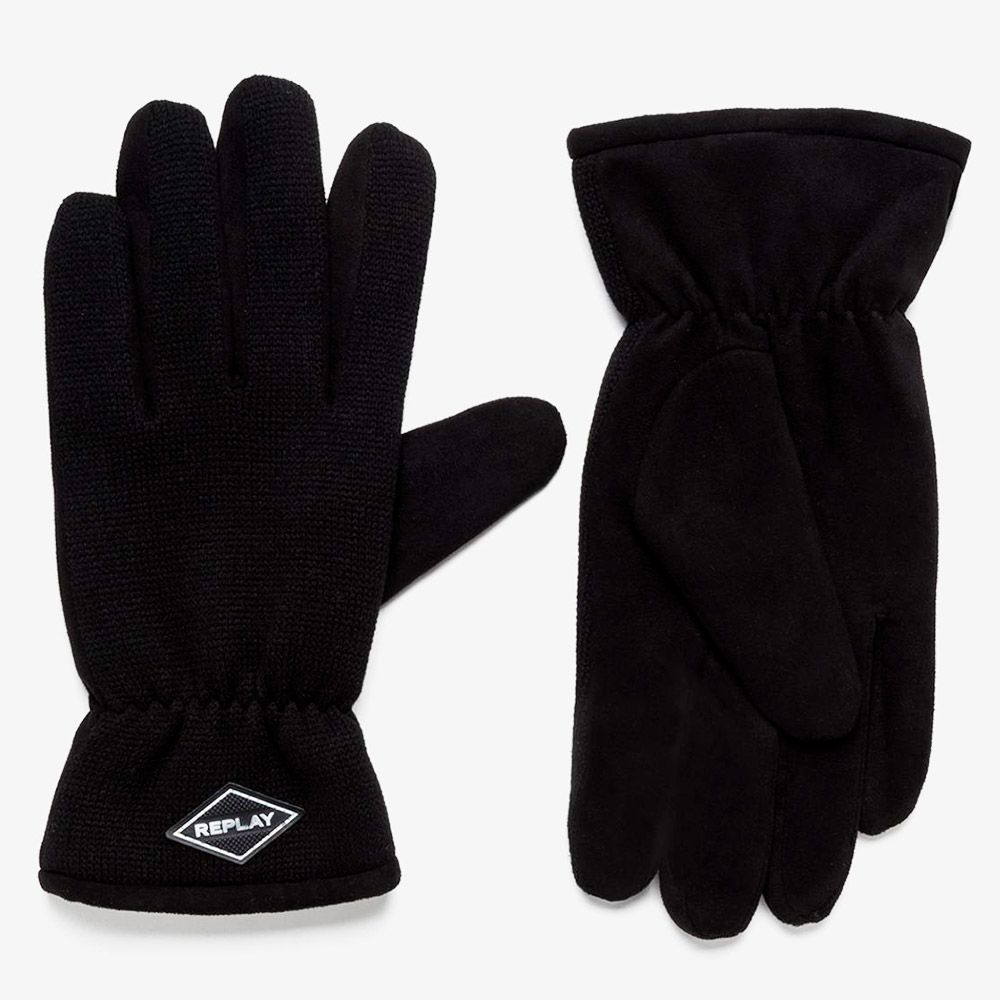 Replay Guantes Efecto Gamuza Black